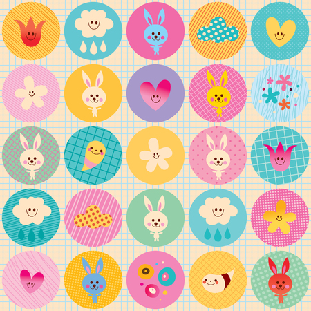 note paper background: Circles pattern baby bunnies flowers clouds characters - nature design elements with note book paper background Illustration