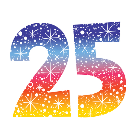 celebratory number twenty-five for birthdays anniversaries celebrations Illustration
