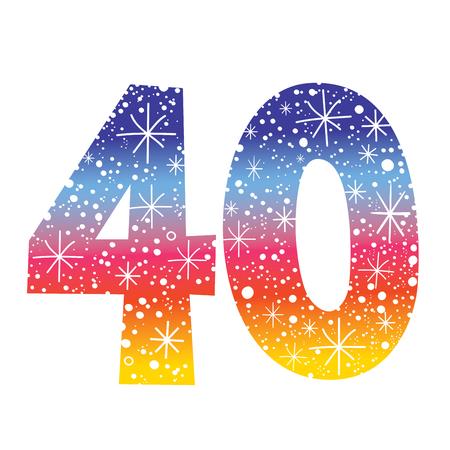 기념일 생일 축하 기념 40 일러스트