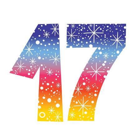 17th: celebratory number seventeen for birthdays anniversaries celebrations Illustration