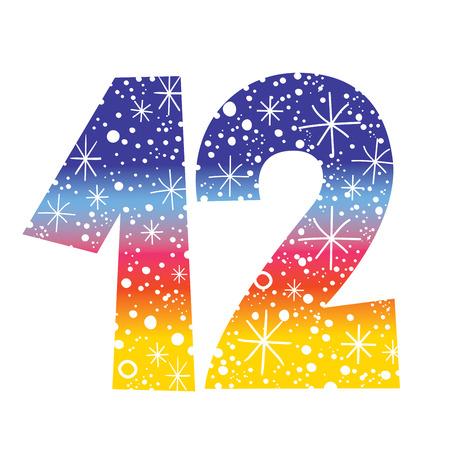 celebratory number twelve for birthdays celebrations