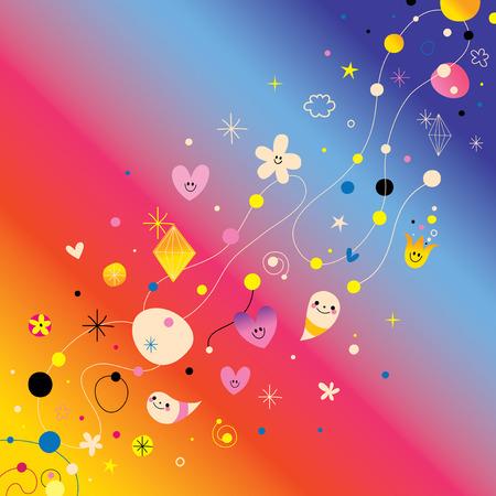 Retro abstracte kunstontwerpelementen met leuke karakters Stockfoto - 78457489