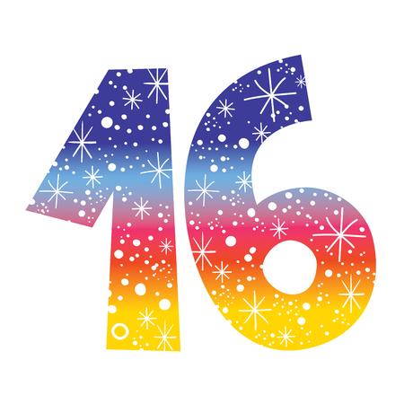 number sixteen for birthdays, celebrations Illustration