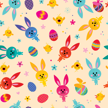 Happy Easter seamless pattern with cute bunnies