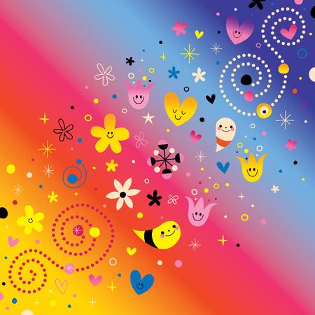 natuur liefde harmonie retro abstracte kunst vector illustratie design elementen