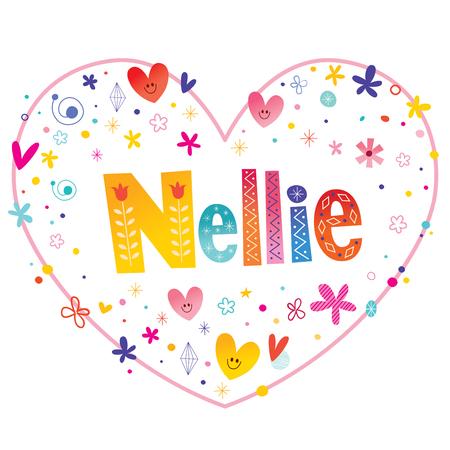 Nellie girls name decorative lettering heart shaped love design Illustration