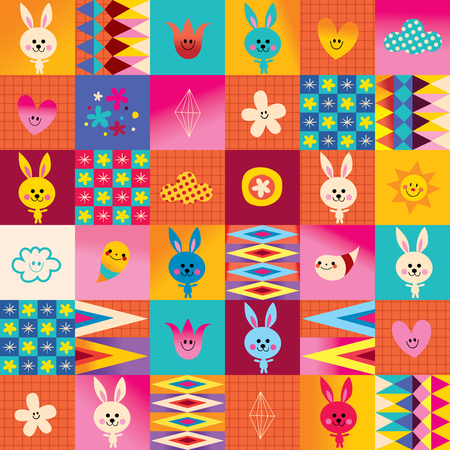 cute bunny characters seamless pattern