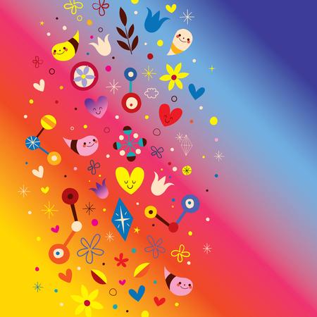 nature love harmony fun abstract art vector design elements Illustration