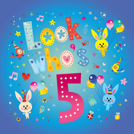Look whos five - fifth birthday card with cute bunnies Illustration