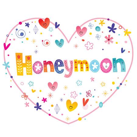 Luna de miel letras decorativas únicas diseño en forma de corazón de amor Ilustración de vector