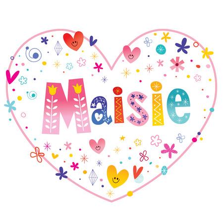 Maisie feminine given name decorative lettering heart shaped love design
