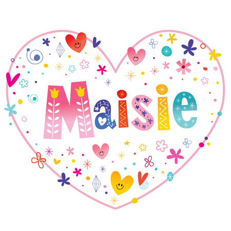 Maisie feminine given name decorative lettering heart shaped love design