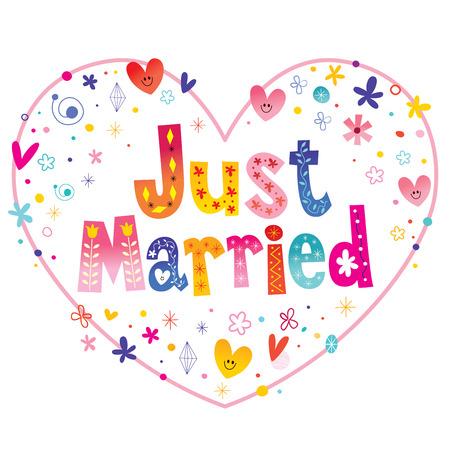 Net getrouwd met decoratieve letters hartvormige liefde ontwerp