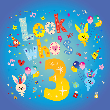 Look who's three - third birthday card with cute bunnies