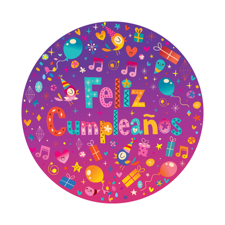 Feliz Cumpleanos Happy Birthday in Spanish greeting card Illustration