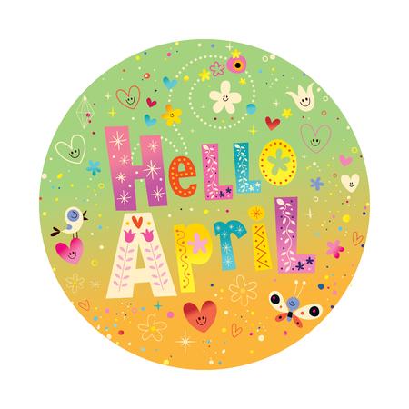 Hello April 向量圖像