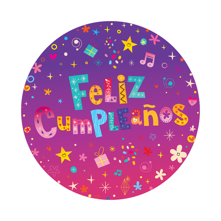 plate: Feliz Cumpleanos Happy Birthday in Spanish card