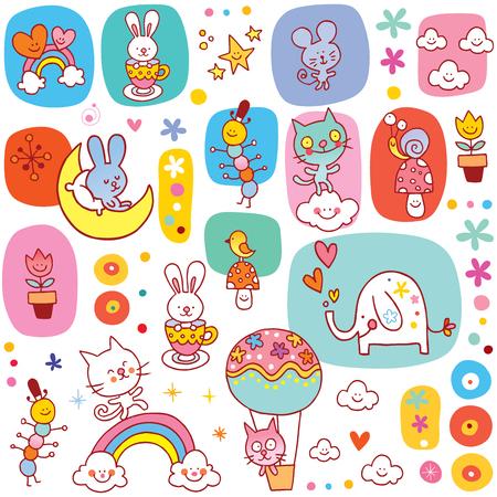 baby animals seamless pettern Illustration