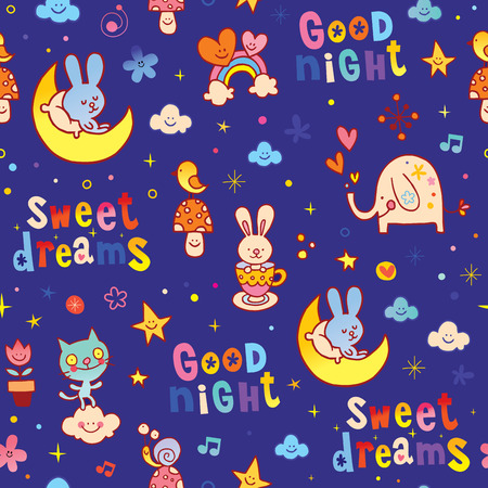 dreamland: good night sweet dreams kids seamless pattern with cute baby animals