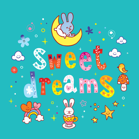 sweet dreams lettering design with cute characters Illustration