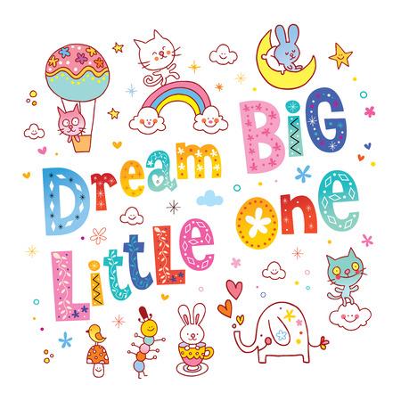 one animal: Dream big little one kids nursery art with cute baby animal characters