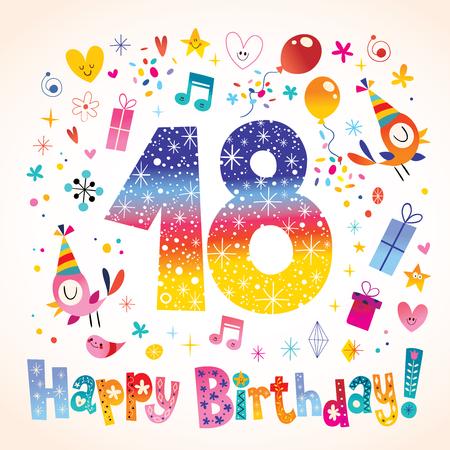 Happy Birthday 18 years teen greeting card