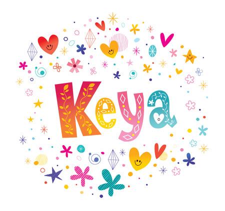 Keya Indian meisjes naam decoratief belettering type ontwerp