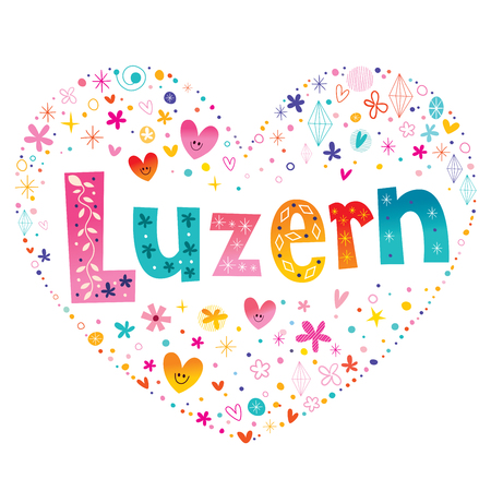Luzern city in Switzerland heart shaped type lettering vector design