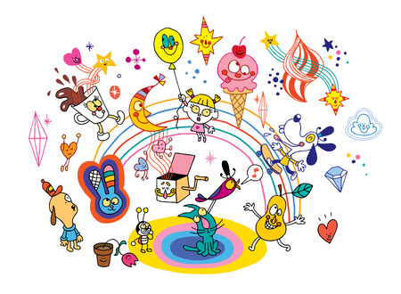 fun cartoon characters group design elements Illustration