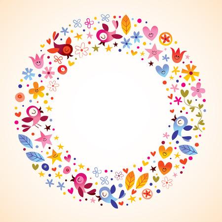 Bloemen, harten, vogels houden van de natuur cirkel ronde frame grens Stock Illustratie