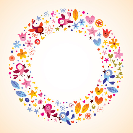 flowers, hearts, birds love nature circle round frame border