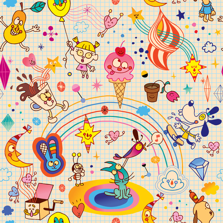 note paper background: Fun cartoon characters seamless pattern with note book paper background