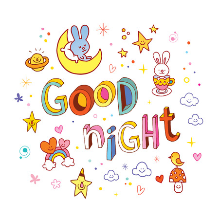 Good night lettering design with cute characters