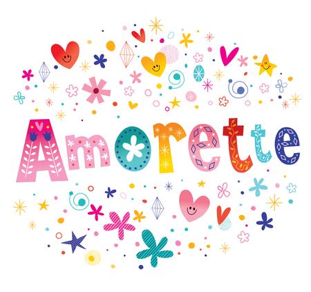 Amorette French girls name decorative lettering type design Illustration