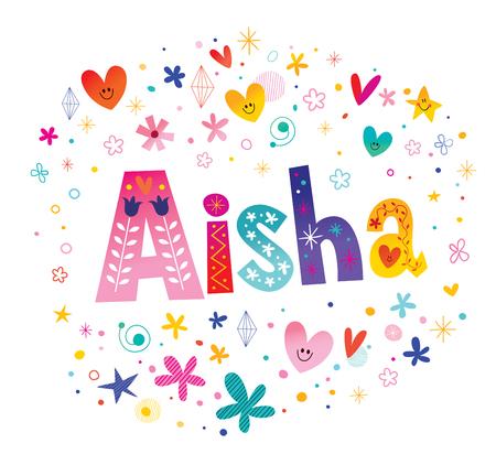 Aisha girls name decorative lettering type design