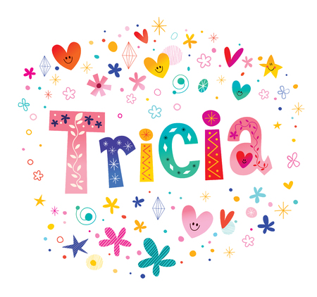 トリシアの女の子名前装飾レタリング型デザイン  イラスト・ベクター素材