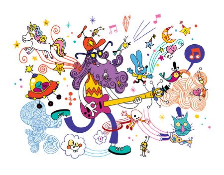 guitarist cartoon illustration Illustration