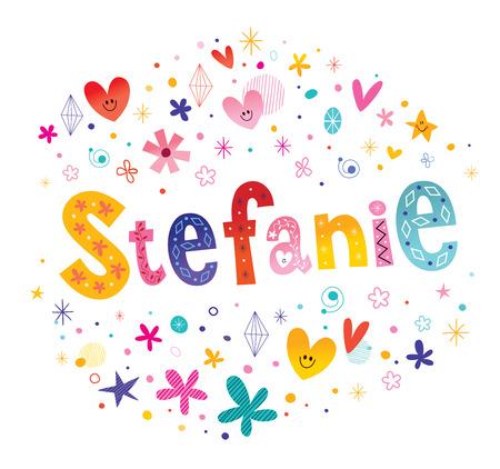 ステファニーの女の子名前装飾レタリング型デザイン  イラスト・ベクター素材