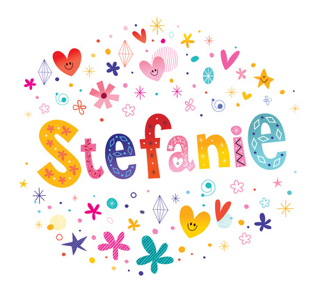 Stefanie girls name decorative lettering type design