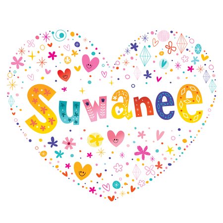 Suwanee city in the United States state of Georgia heart shaped type lettering vector design Illustration