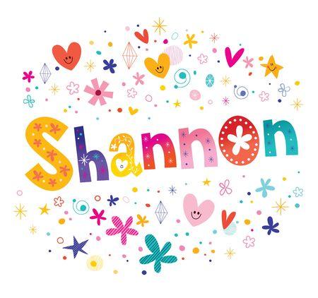 シャノンの女の子名前装飾レタリング型デザイン  イラスト・ベクター素材