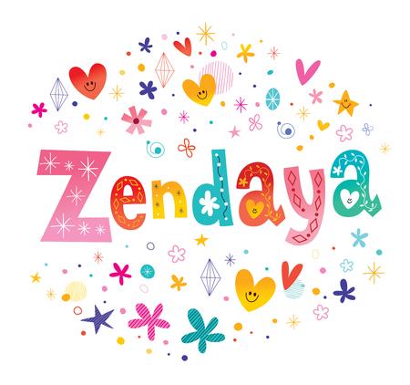 Zendaya girls name decorative lettering type design