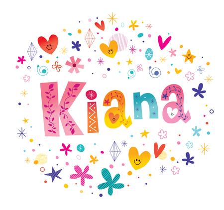 Kiana girls name decorative lettering type design Illustration