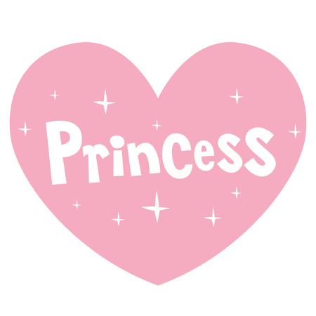 princess pink heart shaped lettering design Illustration