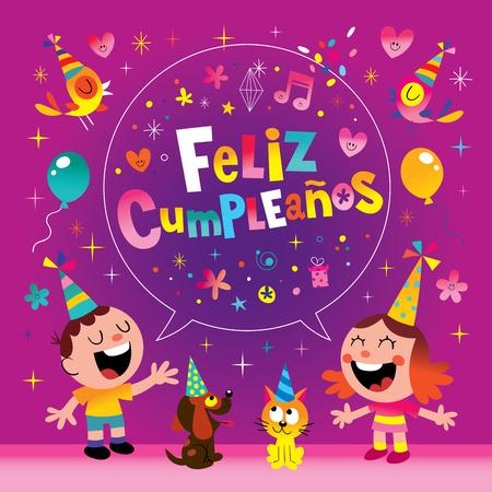 Feliz Cumpleanos - Alles Gute zum Geburtstag in der spanischen Kindergrußkarte Standard-Bild - 80251378