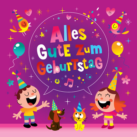 Alles Gute zum Geburtstag Deutsch German Happy birthday greeting card Illustration