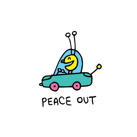 평화 - 누군가에게 작별 인사하는 속어 - 귀여운 버그 캐릭터와 함께 일러스트