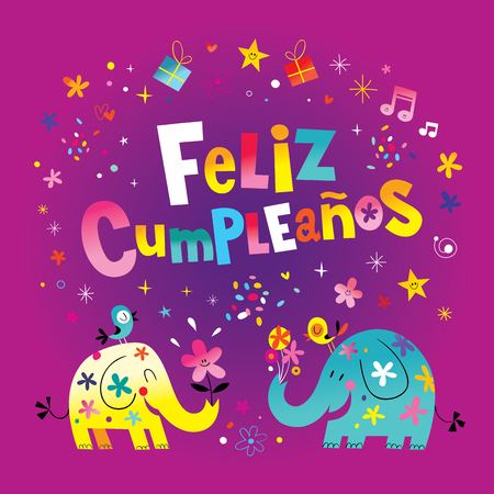 Feliz Cumpleanos Happy Birthday in Spanish greeting card with cute elephants