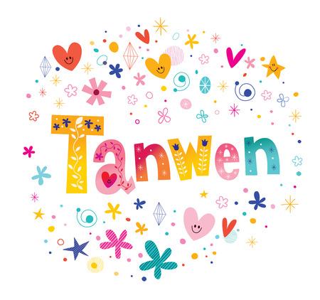 Tanwen girls name decorative lettering type design
