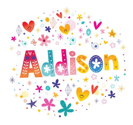 アディソンの女の子の名前  イラスト・ベクター素材